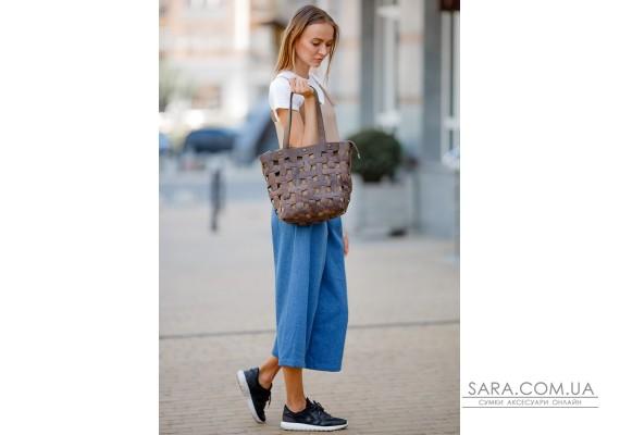 Шкіряна плетена жіноча сумка Пазл L темно-коричнева Crazy Horse - BN-BAG-33-o BlankNote
