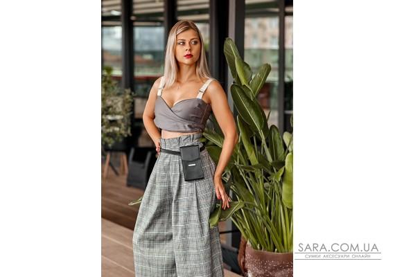 Вертикальна жіноча шкіряна сумка Mini чорна поясна / кроссбоді - BN-BAG-38-1-g BlankNote