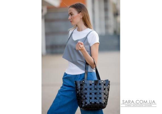 Шкіряна плетена жіноча сумка Пазл L вугільно-чорна - BN-BAG-33-ygol BlankNote
