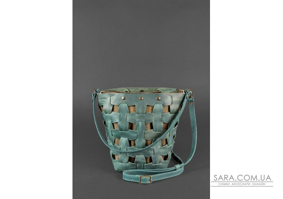 Шкіряна плетена жіноча сумка Пазл M зелена Crazy Horse - BN-BAG-32-iz BlankNote