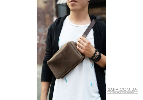 Шкіряна поясна сумка Dropbag Maxi темно-коричнева - BN-BAG-20-o BlankNote