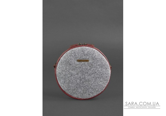 Кругла фетрова жіноча сумка Tablet з шкіряними бордовими вставками - BN-BAG-23-felt-vin BlankNote