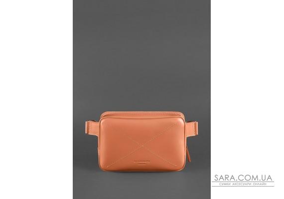 Шкіряна жіноча поясна сумка Dropbag Mini коралова - BN-BAG-6-living-coral BlankNote