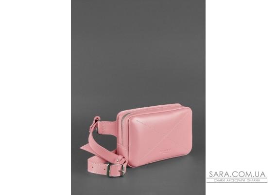 Шкіряна жіноча поясна сумка Dropbag Mini рожева - BN-BAG-6-pink-peach BlankNote
