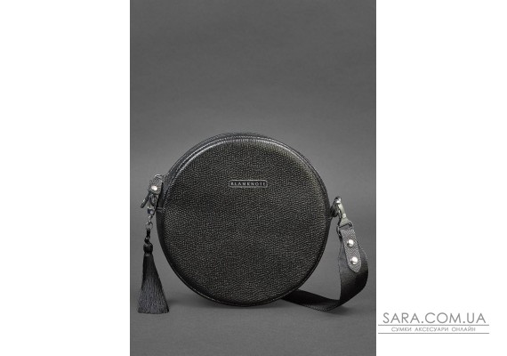 Кругла жіноча шкіряна сумочка Tablet чорна Blackwood - BN-BAG-23-bw BlankNote