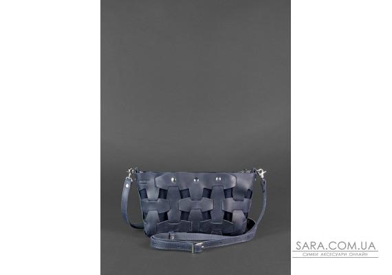 Шкіряна плетена жіноча сумка Пазл S синя Crazy Horse - BN-BAG-31-nn BlankNote