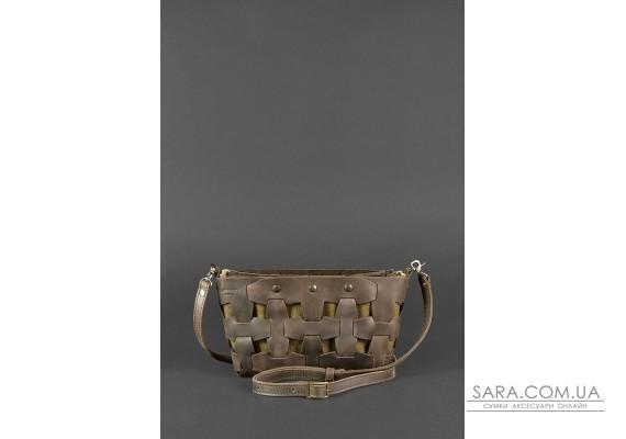 Шкіряна плетена жіноча сумка Пазл S темно-коричнева Crazy Horse - BN-BAG-31-o BlankNote