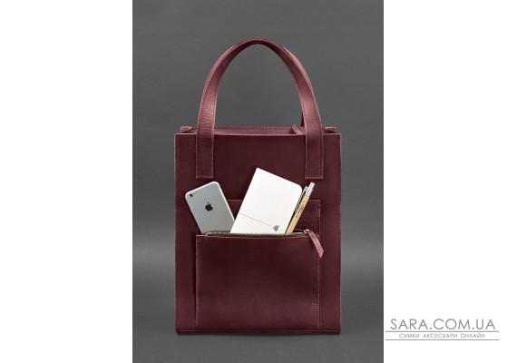Шкіряна жіноча сумка шоппер Бетсі з кишенею бордова - BN-BAG-10-1-vin-kr BlankNote