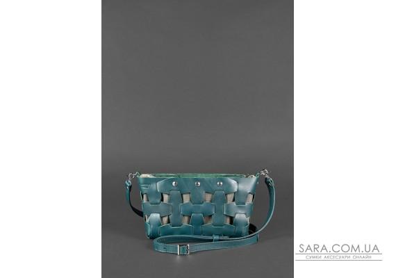 Шкіряна плетена жіноча сумка Пазл S зелена Krast - BN-BAG-31-malachite BlankNote