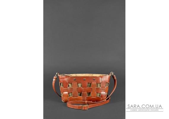 Шкіряна плетена жіноча сумка Пазл S світло-коричнева Krast - BN-BAG-31-k BlankNote