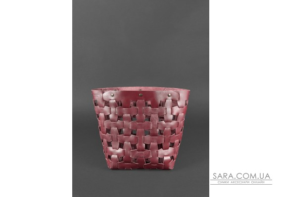 Шкіряна плетена жіноча сумка Пазл L бордова Krast - BN-BAG-33-vin BlankNote