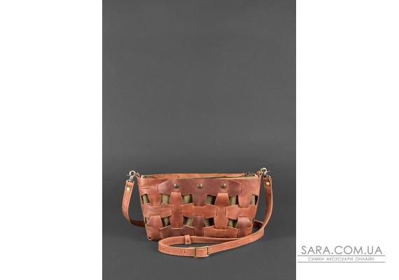 Шкіряна плетена жіноча сумка Пазл S світло-коричнева Crazy Horse - BN-BAG-31-k-kr BlankNote