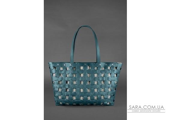 Шкіряна плетена жіноча сумка Пазл Xl зелена Krast - BN-BAG-34-malachite BlankNote