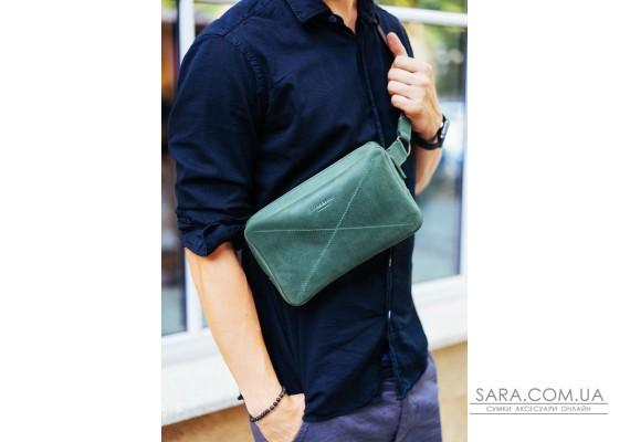 Шкіряна поясна сумка Dropbag Maxi зелена - BN-BAG-20-iz BlankNote