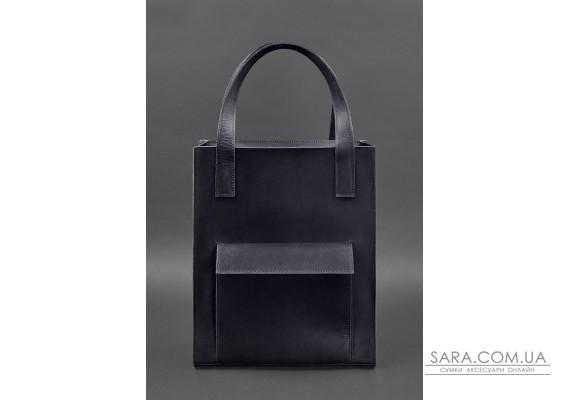Шкіряна жіноча сумка шоппер Бетсі з кишенею синя - BN-BAG-10-1-nn BlankNote