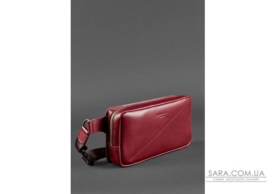 Шкіряна поясна сумка Dropbag Maxi бордова Krast - BN-BAG-20-vin BlankNote