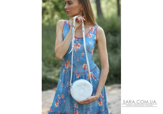 Шкіряна кругла жіноча сумка Бон-Бон біла - BN-BAG-11-light BlankNote