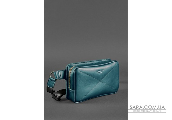 Шкіряна поясна сумка Dropbag Maxi зелена Krast - BN-BAG-20-malachite BlankNote