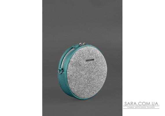 Кругла фетрова жіноча сумка Tablet з шкіряними бірюзовими вставками - BN-BAG-23-felt-tiffany BlankNote