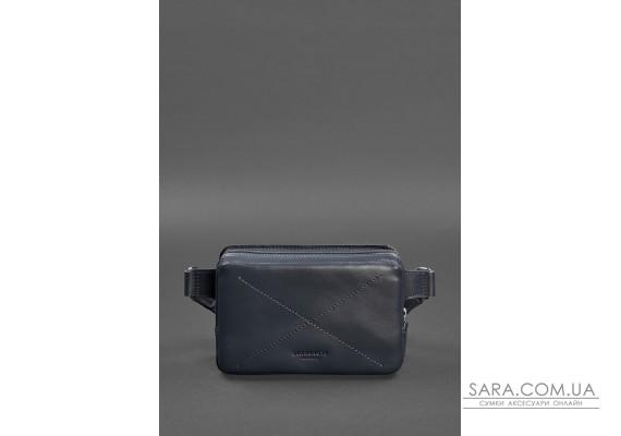 Шкіряна поясна сумка Dropbag Mini темно-синя - BN-BAG-6-navy-blue BlankNote