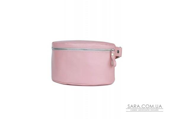 Жіноча шкіряна поясна сумка рожева гладка - TW-BeltBag-pink-ksr The Wings