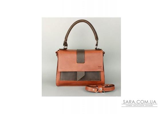 Жіноча шкіряна сумка Ester коньячно-коричнева вінтажна - TW-Ester-kon-brw-crz The Wings