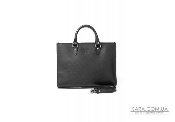 Жіноча шкіряна сумка Fancy A4 чорна - TW-Fency-A4-black-ksr The Wings