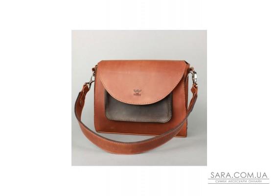 Жіноча шкіряна сумка Liv коньячно-коричнева вінтажна - TW-Liv-kon-brw-crz The Wings