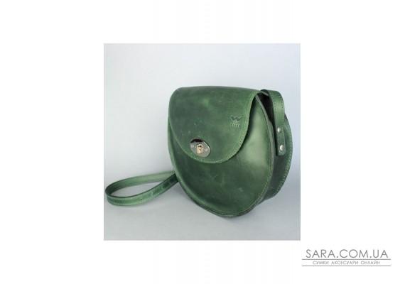Жіноча шкіряна сумка Кругла зелена вінтажна - TW-RoundBag-green-crz The Wings