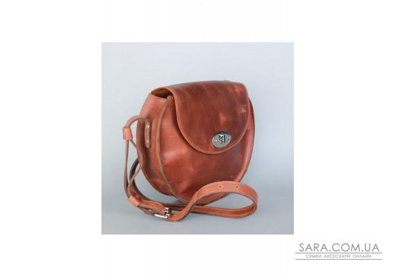 Жіноча шкіряна сумка Кругла світло-коричнева вінтажна - TW-RoundBag-kon-crz The Wings