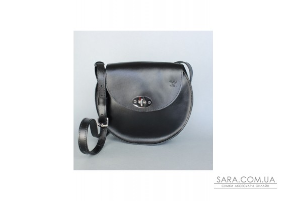 Жіноча шкіряна сумка Кругла чорна - TW-RoundBag-black-ksr The Wings