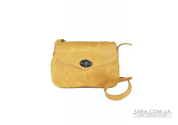 Жіноча шкіряна сумка Трапеция жовта вінтажна - TW-Trapezoid-yell-crz The Wings