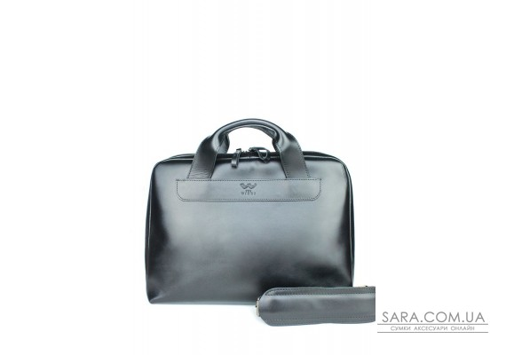 Шкіряна ділова сумка Attache Briefcase чорний - TW-Attache-Briefcase-black-ksr The Wings