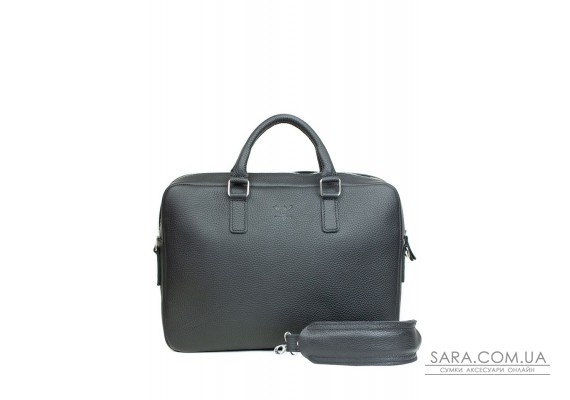 Шкіряна ділова сумка Briefcase 2.0 чорний флотар - TW-Briefcase-2-black-flo The Wings