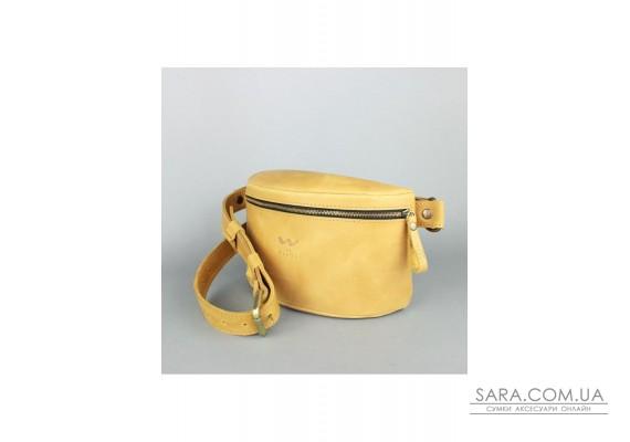 Шкіряна поясна сумка жовта вінтажна - TW-BeltBag-yell-crz The Wings