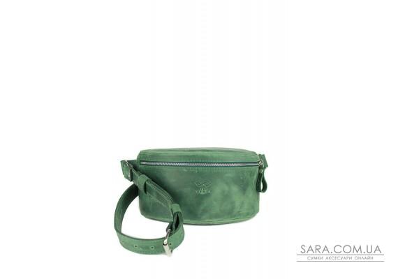 Шкіряна поясна сумка зелена вінтажна - TW-BeltBag-green-crz The Wings