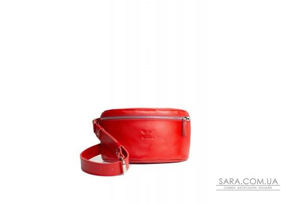 Шкіряна поясна сумка червона - TW-BeltBag-red-ksr The Wings