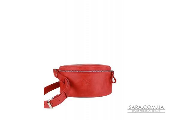Шкіряна поясна сумка червона вінтажна - TW-BeltBag-red-crz The Wings