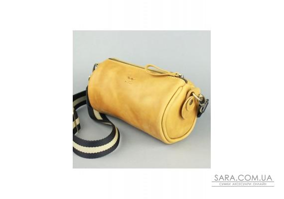 Шкіряна сумка поясна-кроссбоді Cylinder жовта вінтажна - TW-Cilindr-yell-crz The Wings