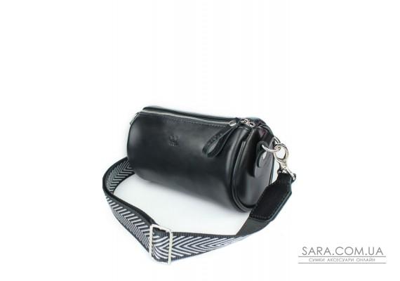 Шкіряна сумка поясна-кроссбоді Cylinder чорна - TW-Cilindr-black-ksr The Wings