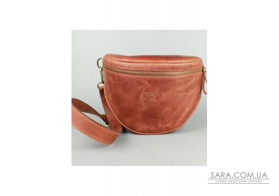 Шкіряна сумка поясна-кроссбоді Vacation світло-коричнева вінтажна - TW-Vacation-kon-crz The Wings