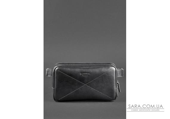Шкіряна поясна сумка Dropbag Maxi чорна Krast - BN-BAG-20-g BlankNote