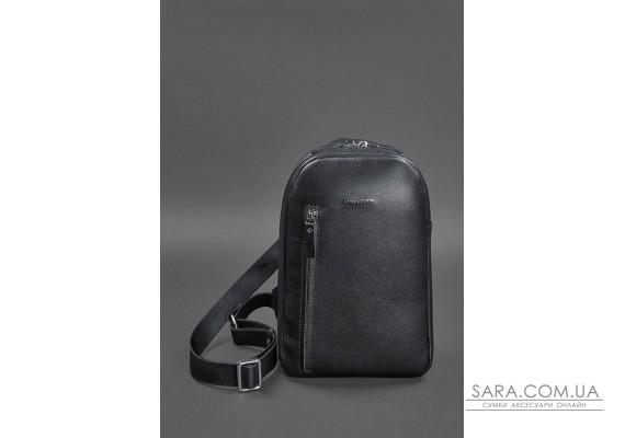 Темно-синій шкіряний чоловічий рюкзак на одне плече Chest Bag - BN-BAG-42-navy-blue BlankNote