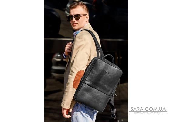 Чорний шкіряний чоловічий рюкзак Foster - BN-BAG-39-g BlankNote