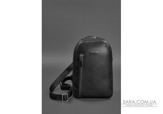 Чорний шкіряний чоловічий рюкзак  на одне плече Chest Bag - BN-BAG-42-g BlankNote
