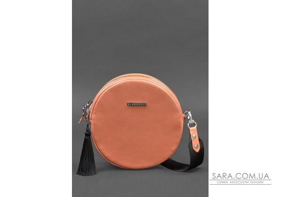 Кругла жіноча шкіряна сумочка Tablet коралова - BN-BAG-23-living-coral BlankNote