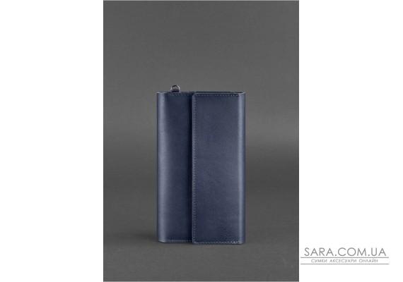 Шкіряний клатч-органайзер (Тревел-кейс) 5.1 темно-синій - BN-TK-5-1-navy-blue BlankNote