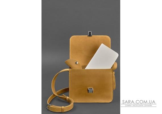 Шкіряна жіноча бохо-сумка Лілу жовта Crazy Horse - BN-BAG-3-ylw-kr-man BlankNote