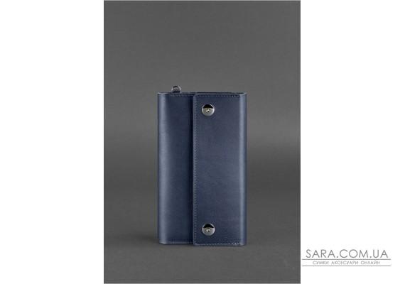 Шкіряний клатч-органайзер (Тревел-кейс) 5.0 Темно-синій - BN-TK-5-navy-blue BlankNote