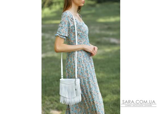 Шкіряна жіноча сумка з бахромою міні-кроссбоді Fleco біла - BN-BAG-16-light BlankNote